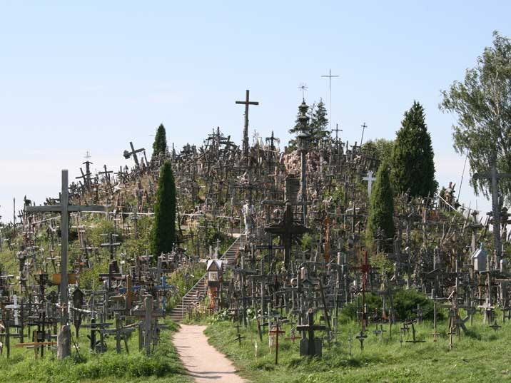 The back site of the Hill of crosses near Siauliai in Lithuania