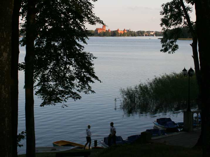 View over the lake with Trakai Island Castle from camping Slenis