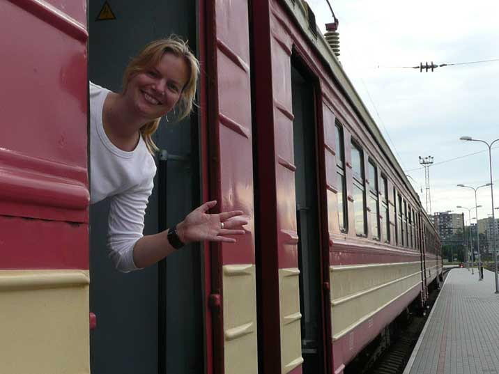 Boarding the train in Vilnius on the way to back Trakai