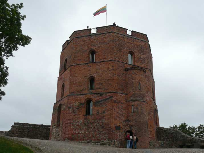 The Gediminas tower from 1409 built on a hill overlooking Vilnius