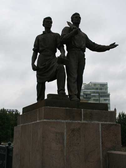 Construction and industry statue on the green bridge, Vilnius