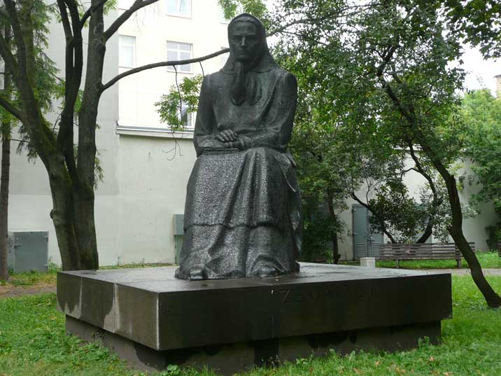Statue of writer Julija Zemaite by Algimantas and Nasvytis