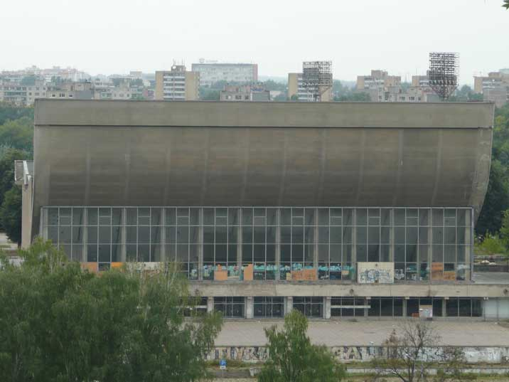 A classic Soviet Palace of Sports building in Vilnius Lithuania