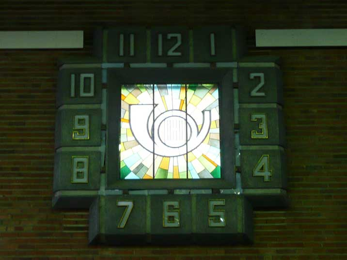 Art deco style clock in the Soviet era Vilnius Main Post Office