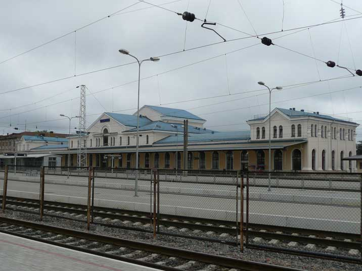 The main terminal of the Central Railway Station in Vilnius