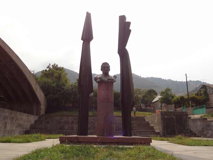 Memorial to Atrem Mikoyan, the Armenia Soviet aircraft designer who designed many of the famous MiG aircraft