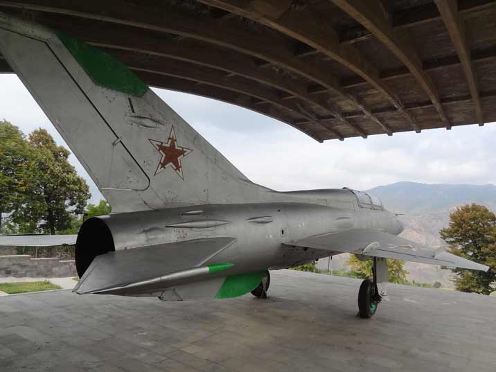 MiG-21 monument dedicated to its designer Artem Mikoyan with a great view on the Mountains of Sanahin