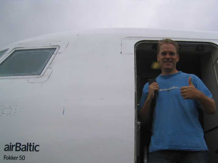 Getting of the AirBaltic Fokker 50 on Minsk Airport in Belarus