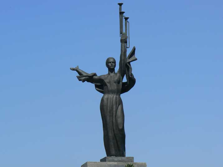 Bronze woman with trumpet on the Obelisk to Hero City of Minsk