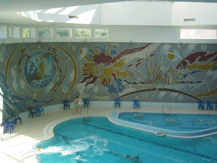 Minsk Belarus Hotel Swimming pool with fantastic wall fresco