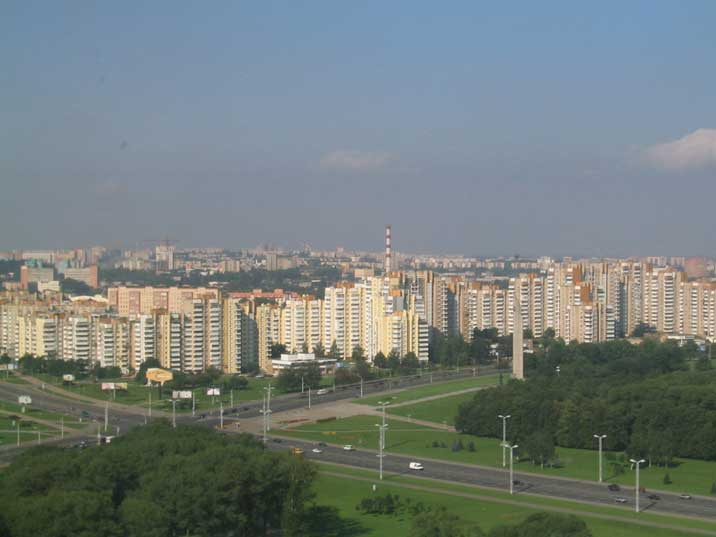 A Minsk outskirt called microraion with concrete Kruchev era flats