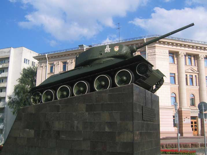 Monument with the first Russian tank that entered Minsk in 1944