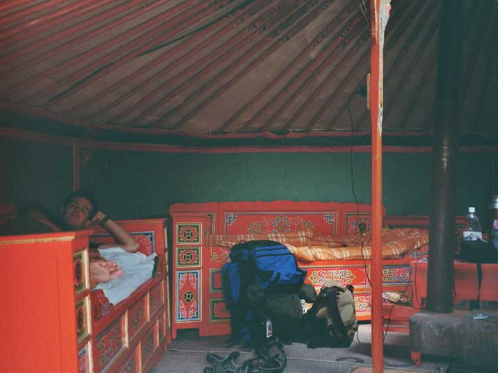Our beds in the Mongolian Ger were it became really cold at night