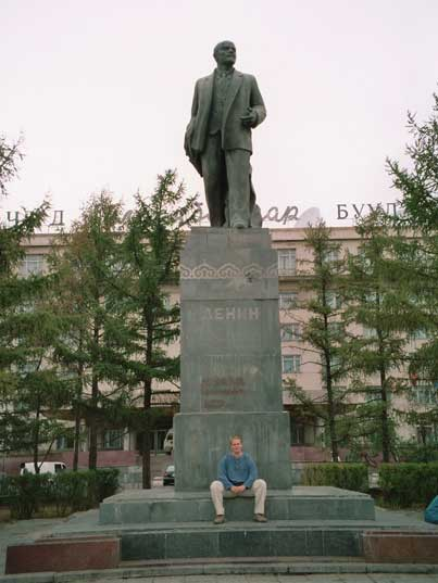 Lenin statue in front of Hotel Ulan Bator in the Mongolian capital
