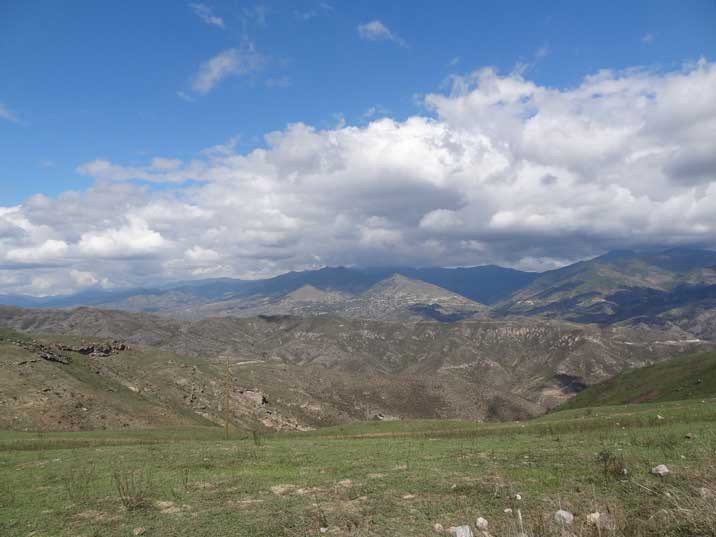 Mountains of Nagorno-Karabakh that make up most of the land in this country between Armenia and Azerbaijan
