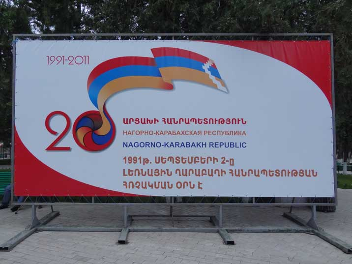 Billboard celebrating the 20th anniversary of the Nagorno-Karabakh Republic founded in 1991 after the Independence war