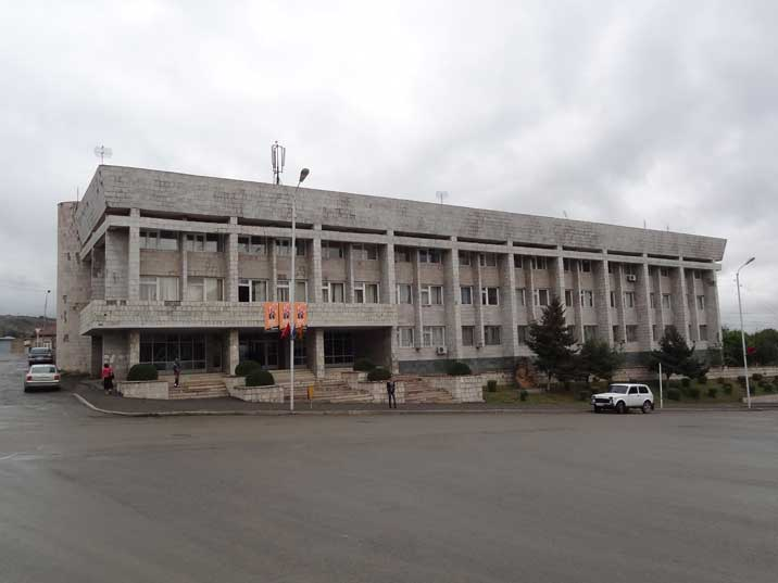 Soviet era Nagorno-Karabakh Government building on Republic on Republic Square in the capital Stepanakert