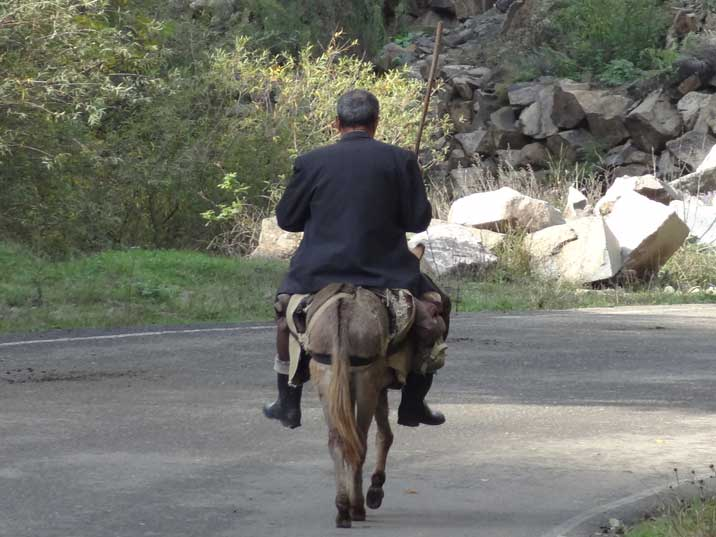 Man riding a donkey in a street of Vank, 40 KM from Stepanakert the capital of Nagorno-Karabakh