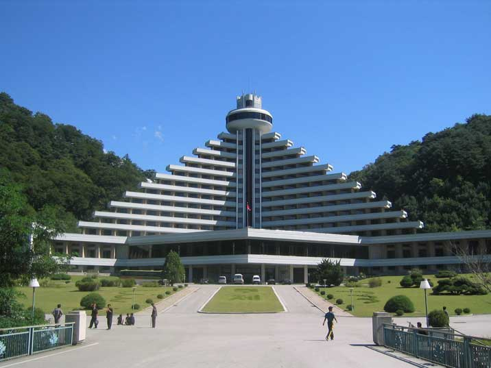 The pyramid shaped Hyangsan Hotel in the hills of Mount Myohyang