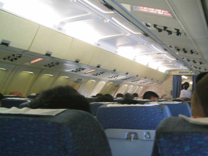 Interior of the Air Koreo Ilyushin Il-62 on its way to Pyongyang