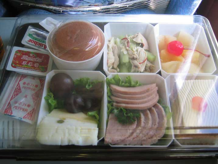 Lunch of our Air Koreo flight from Beijing to Pyongyang