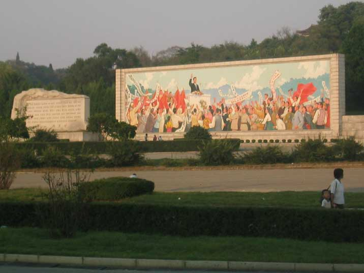 Monument to Kim Il Sung in Speech on His Triumphal Return