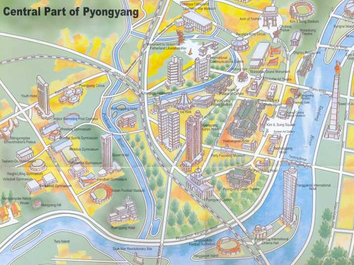 Map of the Pyongyang City Centre with tourist attractions