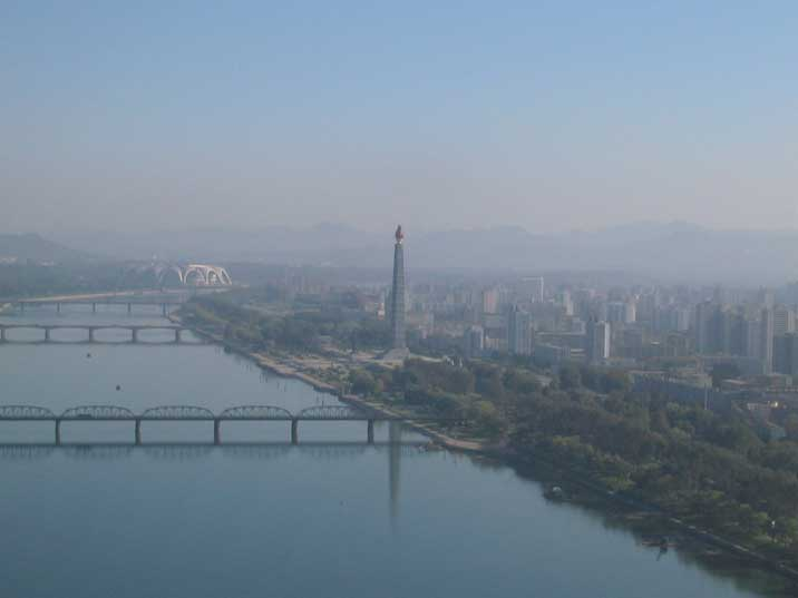 The Taedong River with the Juche tower and May Day Stadium