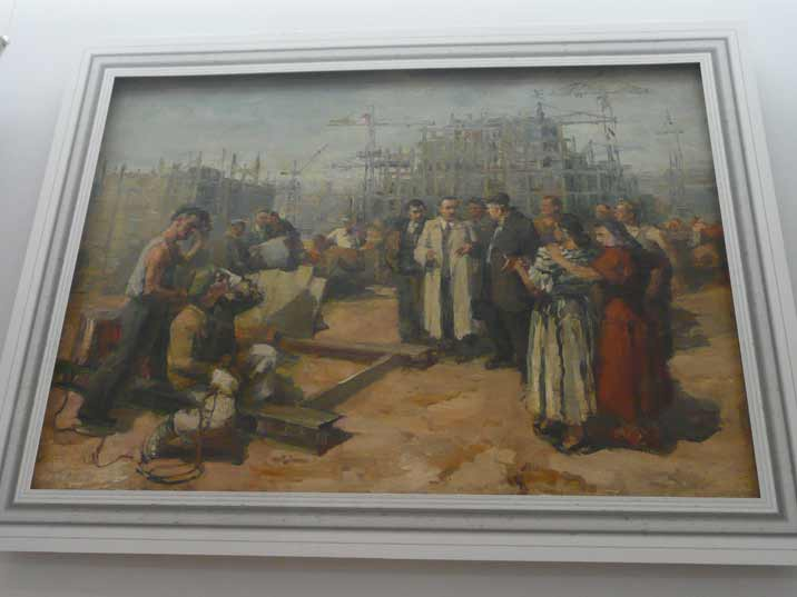 A beautiful socialist realist painting depicting communist party bosses visiting the construction workers in Nowa Huta