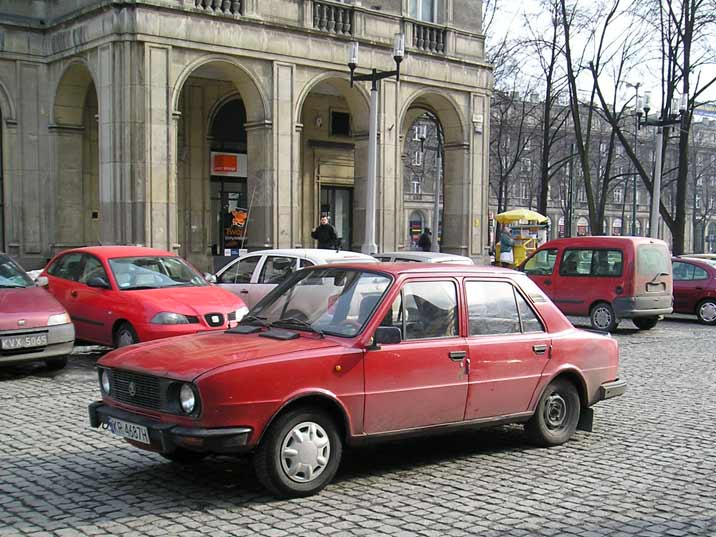 A Skoda 120 on Central Square of Nowa Huta, many Skoda's from the communist period are still found in Poland