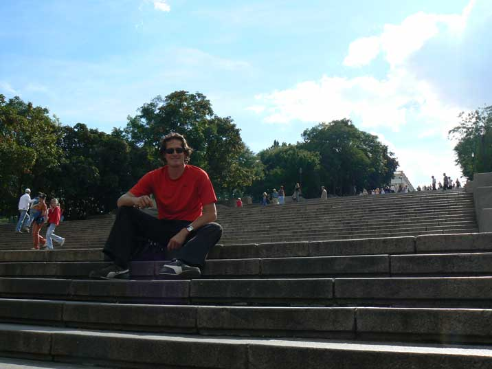 Enjoying the nice Black Sea climate on the Potemkin stairs