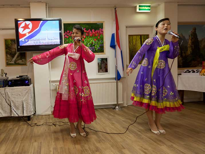 The waitresses of Restaurant Pyongyang are skilled singers and perform multiple traditional North Korean songs during dinner