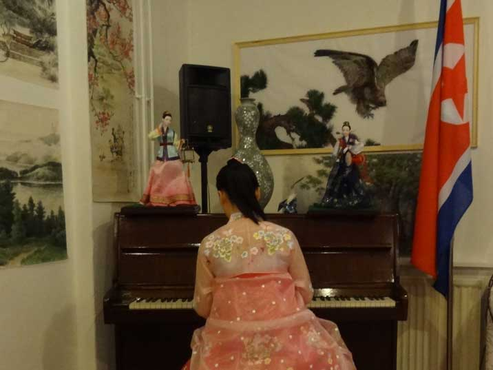 One of the ladies is an good piano player and plays some famous North Korean tunes to entertain the guests