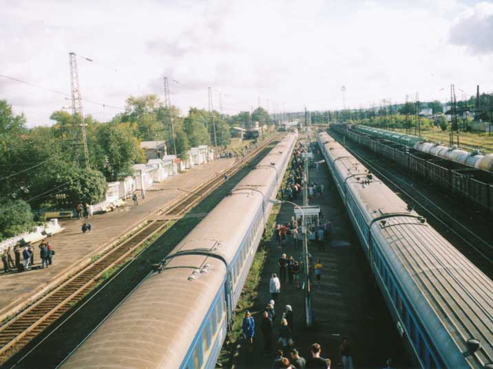 Trans Siberian trains in two directions on Belezino station