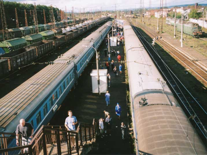 View on Belezino train station from a stairway over the tracks