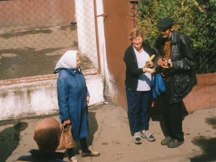 Trans Siberia Express passenger buying a banana in Kirov