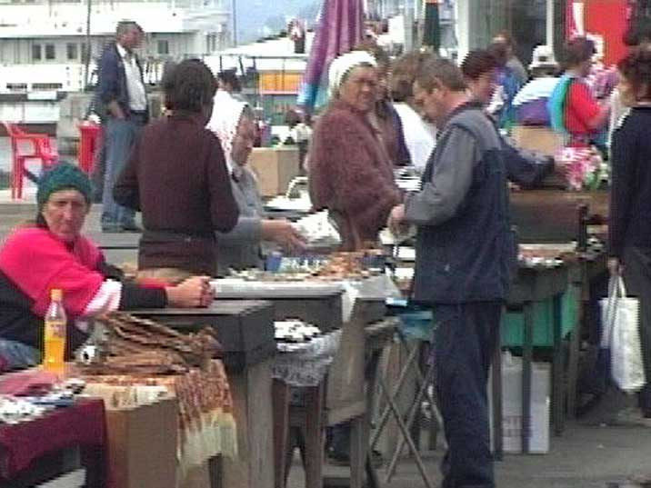 Listvyanka village fish market selling Smoked Omul and other fish