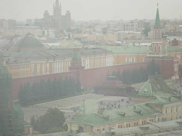 The Lenin mausoleum on Red square seen from Hotel Russia