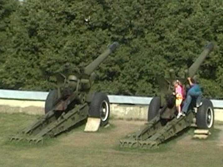 World War II Red army 122 mm gun on the Peter and Paul fortress