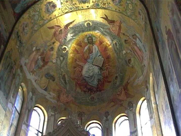Russian Orthodox paintings on the ceiling of Church of the Saviour
