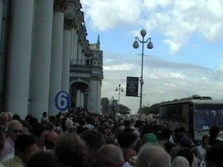 A long queue in front of the world famous Hermitage museum