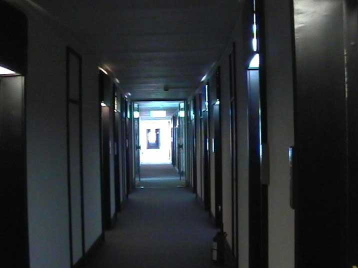 One of the long corridors of the Moscow Hotel in St. Petersburg