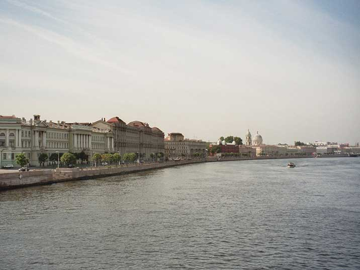 Buildings from the time of Peter the Great on the Neva river banks