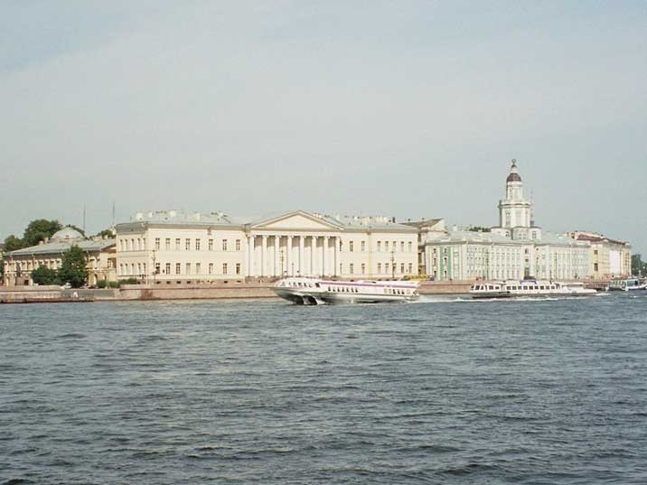 A hydrofoil cruising on the Neva River on a sunny day in St. Petersburg