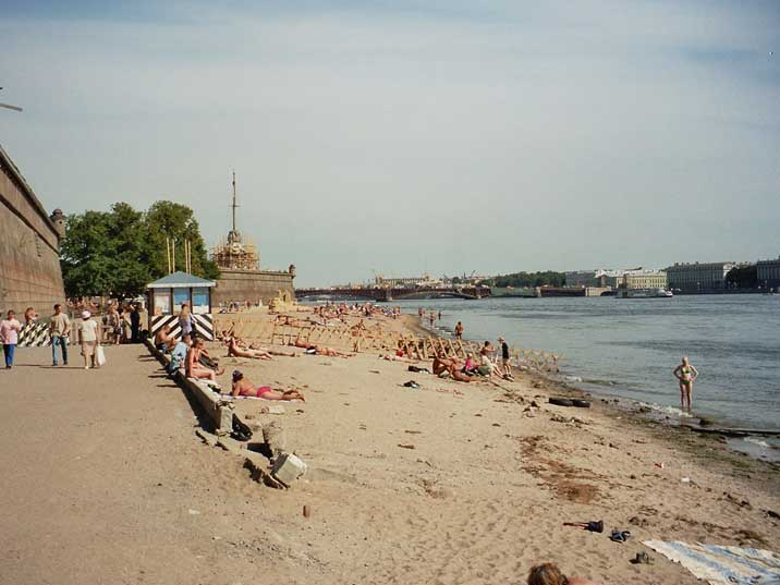Locals enjoying the city beach of the Peter and Paul fortress