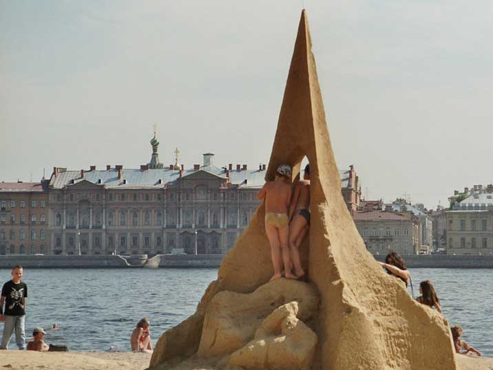 Sand sculpture on the beach of the Peter and Paul fortress