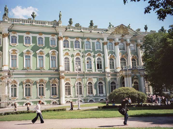 The St. Petersburg winter palace now houses the Hermitage museum
