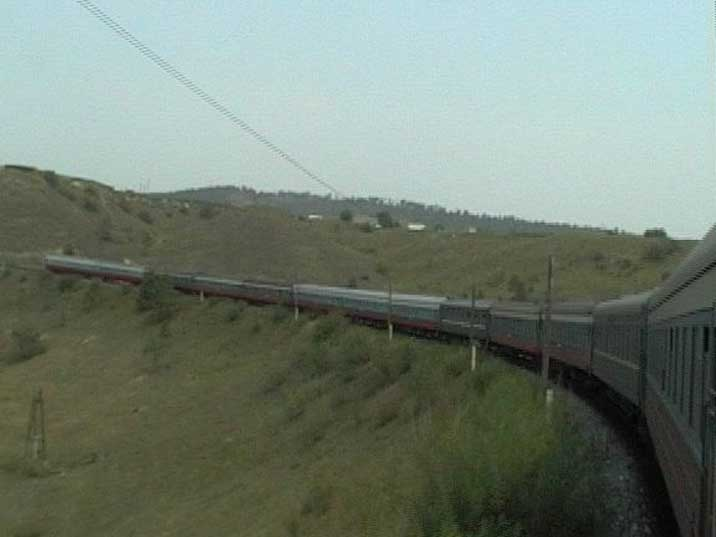 The Trans Siberia Express driving trough the Russian Taiga's