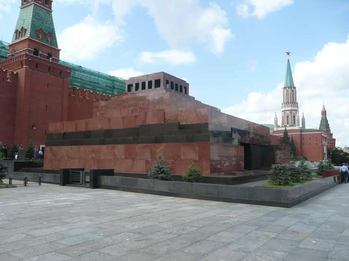 The Lenin mausoleum on the Red Square near the Kremlin wall