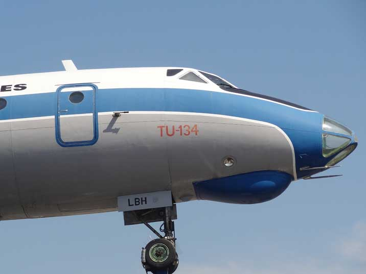 The characteristic glassed nose of the Tupolev Tu-134A-3 that was replaced by a normal nose for later models